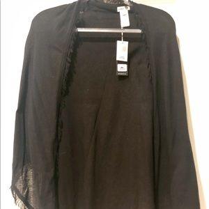 Black Minnie Rose cotton fringed shawl